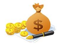 Ilustración de la bolsa del dinero Imágenes de archivo libres de regalías