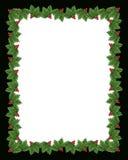 Ilustración de la frontera del acebo de la Navidad Imagenes de archivo