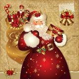 Ilustración de la Navidad con Papá Noel Imagen de archivo libre de regalías