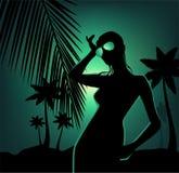 Ilustración de la playa y de la muchacha tropicales hermosas Foto de archivo libre de regalías