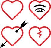 Ilustración de las tarjetas del día de San Valentín del vector y de los corazones quebrados Fotografía de archivo