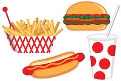 Ilustración de los alimentos de preparación rápida Foto de archivo