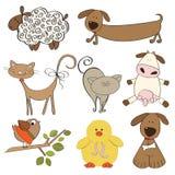 Ilustración de los animales del campo aislados fijados Imagen de archivo libre de regalías