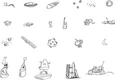 Ilustración de los elementos del espacio Foto de archivo