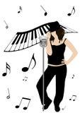 Ilustración de un piano y de una muchacha que cantan Foto de archivo