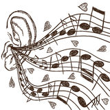 Ilustración del oído y de las notas Imagen de archivo libre de regalías