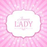 Ilustración del vector Bandera rosada linda para la princesa, el encanto y el diseño del bebé Retro brillante en fondo de la expl Imagenes de archivo