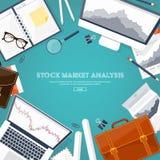 Ilustración del vector Fondo plano Comercio del mercado Plataforma comercial, cuenta Manantial de beneficios, negocio análisis in Fotografía de archivo libre de regalías