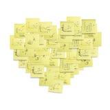 Ilustración en forma de corazón del concepto del símbolo del post-it. Imagen de archivo