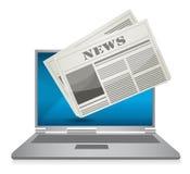 Ilustración en línea del concepto de las noticias Imágenes de archivo libres de regalías