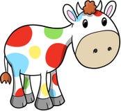 Ilustración feliz del vector de la vaca del arco iris Fotos de archivo