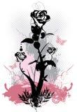 Ilustración floral del vector del grunge de las rosas góticas Fotografía de archivo libre de regalías