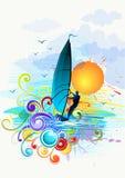 Ilustración que practica surf del viento Imágenes de archivo libres de regalías