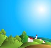 Ilustración rural del paisaje Imagenes de archivo