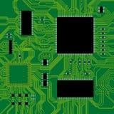 Ilustración verde del vector de la tarjeta de circuitos. Imágenes de archivo libres de regalías