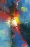 Ilustraciones abstractas del estilo de la pintura al óleo en lona Foto de archivo