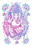 Ilustraciones aisladas Lord Ganesha gráficas del estilo del vintage Ejemplo de alta calidad del vector, arte del tatuaje, yoga, i stock de ilustración