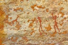 Ilustraciones antiguas de la pared del bosquimano de la caza del hombre Foto de archivo