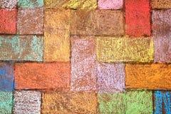 Ilustraciones coloridas de la tiza en ladrillos imágenes de archivo libres de regalías