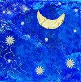 Ilustraciones con la luna y las estrellas ilustración del vector