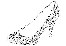 Ilustraciones conceptuales de un zapato con la nota de la música libre illustration