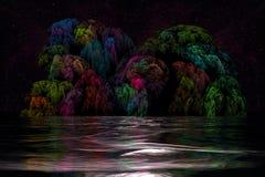 Ilustraciones de Digitaces Paisaje marino surrealista de la noche libre illustration
