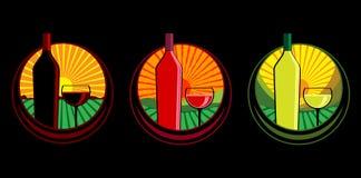 Ilustraciones de la botella de vino Imagen de archivo libre de regalías