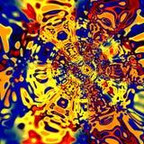 Ilustraciones de la distorsión de Digitaces Ejemplo azul amarillo rojo colorido Fondo psicodélico creativo Vórtice artístico surr Fotos de archivo libres de regalías