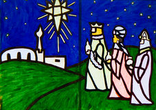Ilustraciones de la escena de la natividad de tres hombres sabios Fotos de archivo libres de regalías