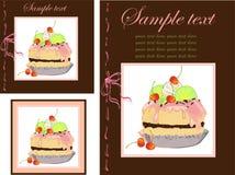 Ilustraciones de la torta. Menú. Fotografía de archivo