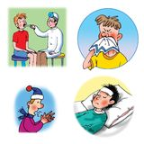 Ilustraciones de la trama sobre cuidado médico y medicina Imagen de archivo libre de regalías