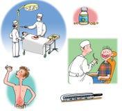 Ilustraciones de la trama sobre cuidado médico y medicina Imagenes de archivo