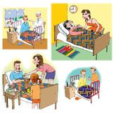 Ilustraciones de la trama sobre cuidado médico y medicina Fotos de archivo libres de regalías