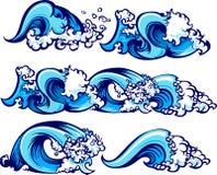 Ilustraciones de las ondas de agua que causan un crash Foto de archivo