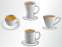 Ilustraciones de las tazas de café Fotografía de archivo libre de regalías