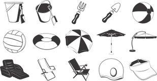 Ilustraciones de los items de la playa Fotos de archivo