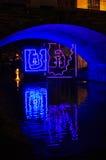 Ilustraciones de neón en Georgetown en la noche Imagen de archivo libre de regalías
