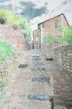 Ilustraciones de una calle en un pueblo en la Provence libre illustration