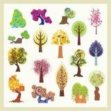Ilustraciones del árbol del vector fijadas Foto de archivo libre de regalías