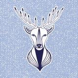 Ilustraciones del Año Nuevo con la cabeza de los ciervos Impresión, etiqueta engomada o elemento del inconformista para el diseño Fotos de archivo libres de regalías