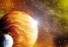 ilustraciones del ejemplo 3D del espacio con los planetas y las nebulosas stock de ilustración