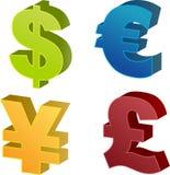 Ilustraciones del símbolo de dinero en circulación Fotos de archivo