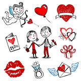 Ilustraciones del vector de la tarjeta del día de San Valentín Foto de archivo libre de regalías