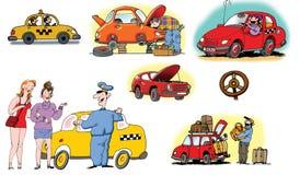 Ilustraciones drenadas mano sobre diversos vehículos Imagen de archivo