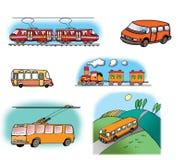 Ilustraciones drenadas mano sobre diversos vehículos Imagen de archivo libre de regalías