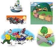 Ilustraciones drenadas mano sobre diversos vehículos Foto de archivo
