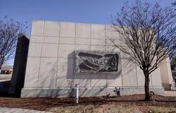 Ilustraciones en el edificio de la parte posterior del centro de educación de los artes del delta, Memphis del oeste, Arkansas Imagen de archivo