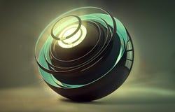 Ilustraciones generadas por ordenador artísticas abstractas de Digitaces del ejemplo 3d de una bola en un fondo colorido único libre illustration