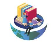 Ilustraciones isométricas de estudiar de los niños stock de ilustración
