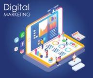 Ilustraciones isométricas de la gente que promueve una marca con el márketing digital ilustración del vector